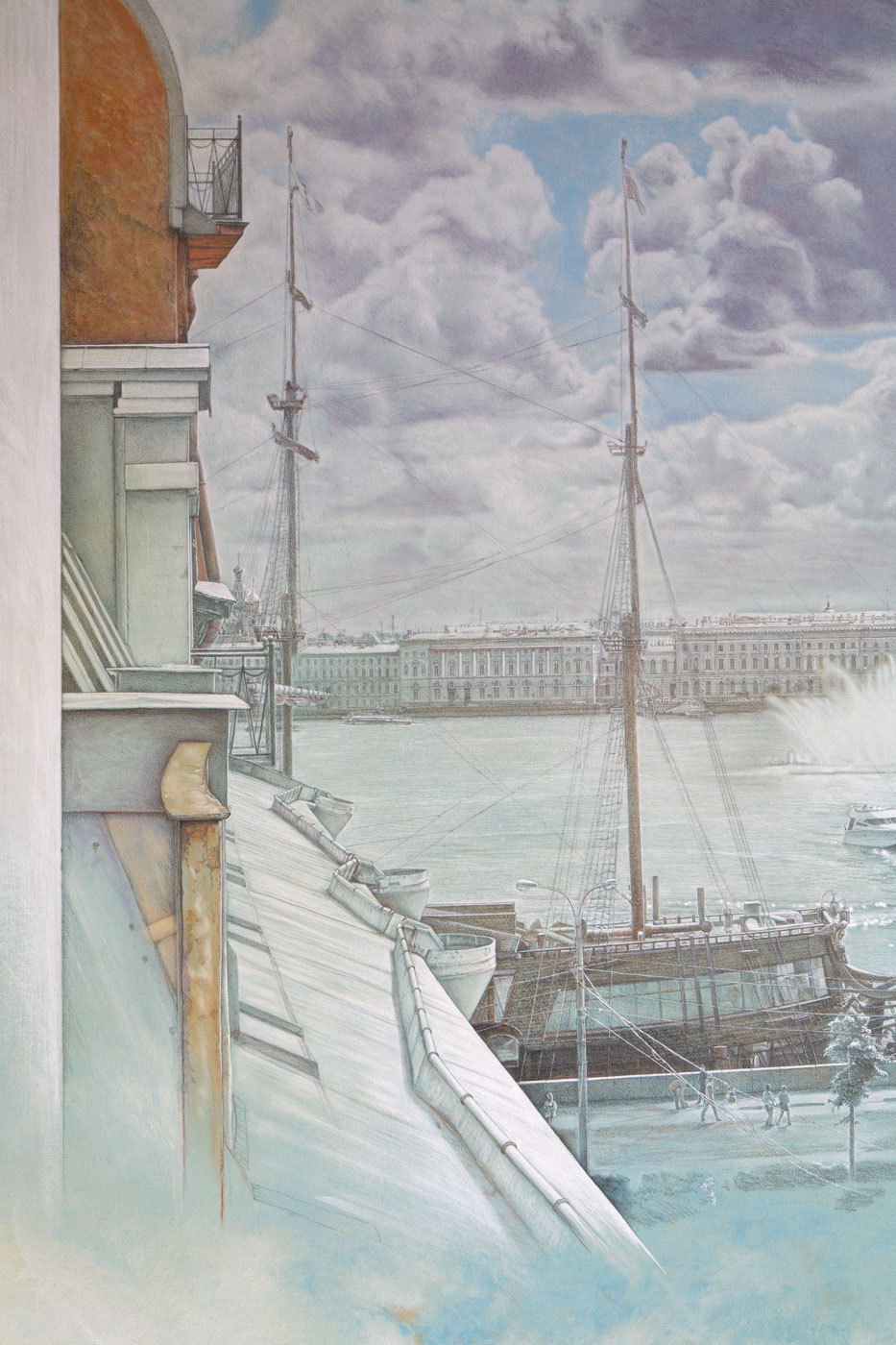 Panorama St. Petersburg from Mytninskaja Nab. Underpainting Excerpt 1