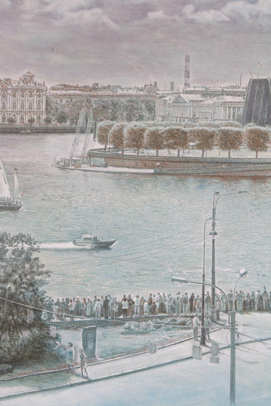 Panorama St. Petersburg von Mytninskaja Nab. Untermalung Ausschnitt 2
