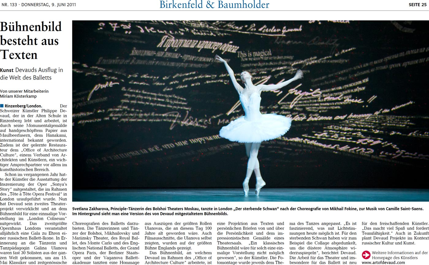 Newspaper Article Ballet Galina Ulanova